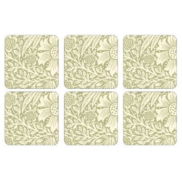 PIMPERNEL Marigold Green Coasters square set of 6