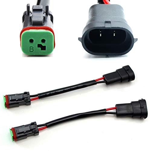 iJDMTOY (2) Heavy Duty Wirings Fog Light Converter Adapters From H11/880 to Deutsch DT DTP Connectors, Good For Cubic LED Pod Lights, LED Light Bar, LED Work Lamps, etc