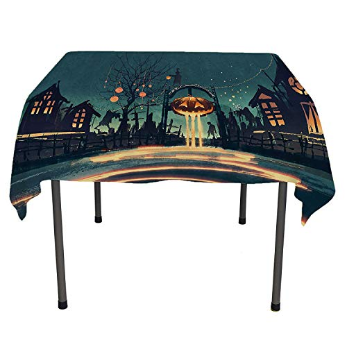 Fantasy Art House Decor Tablecloth for Party Halloween Theme Night Pumpkin and Haunted House Ghost Town Artful Teal Orange Outdoor Picnic Table Cloth Washable Spring/Summer/Party/Picnic 60 by 84 ()
