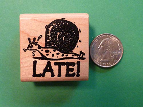 Quality Custom Rubber Stamps Late Snail, Teacher's Wood Mounted Rubber Stamp Carved Wooden Stamps