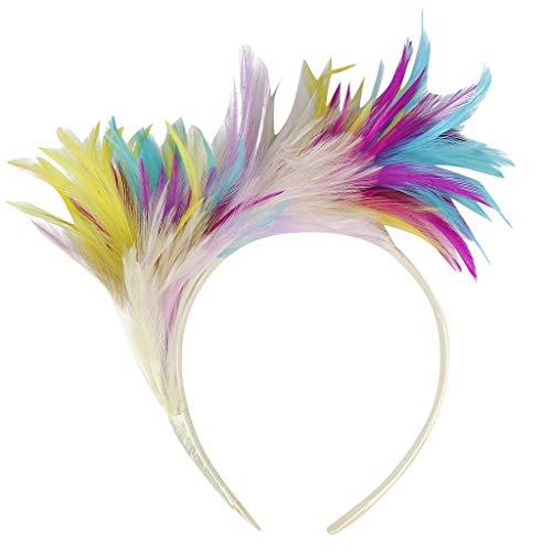 Fashionhe Hair Accessories Fascinator Feathers Headband for Women Kentucky Derby Wedding Party Headwear (White)