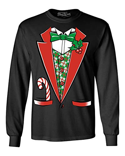 Shop4Ever Tuxedo Christmas Costume Long Sleeve Shirt Funny Xmas Shirts 3XL Black 12258
