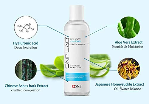 SNP Lab+ - Triple Water Aqua Toner - Maximium Hydration & Moisture for All Dry Skin Types - 200ml - Best Gift Idea for Mom, Girlfriend, Wife, Her, Women