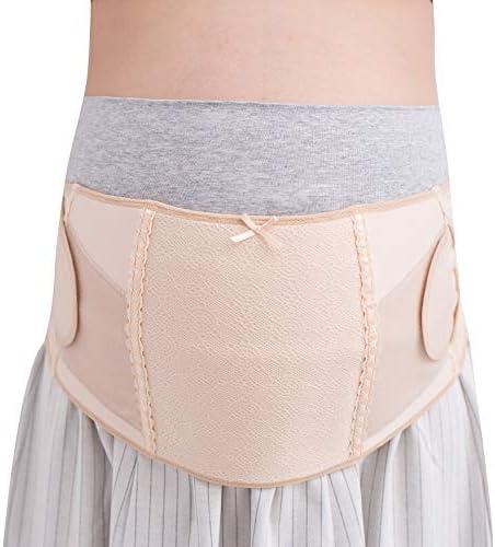 GAOJIE 腹部ベルト、妊娠中の腹部リフトベルト、双方向クロスバックサポート、通気性、妊娠中の女性の体のバランスを保つ (色 : ベージュ, サイズ : L)