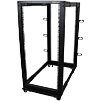 StarTech.com 25U Adjustable Depth Open Frame 4 Post Server Rack Cabinet with Casters/Levelers and Cable Management Hooks 4POSTRACK25U Black
