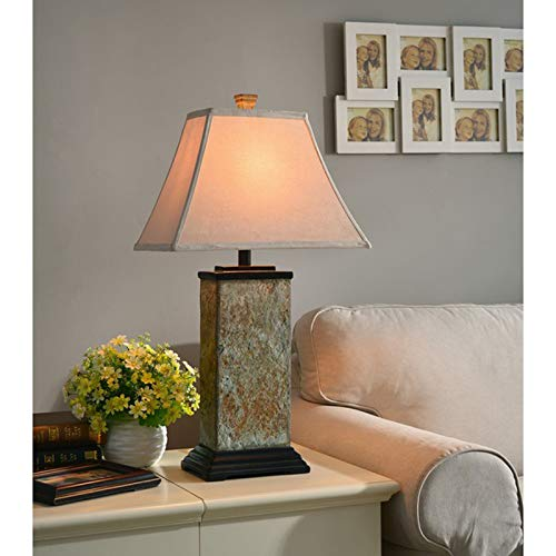 29-inch Table Lamp - Accent Desk Lamp with Faux Suede Rectangular Shade - Great for Living Room or Bedroom