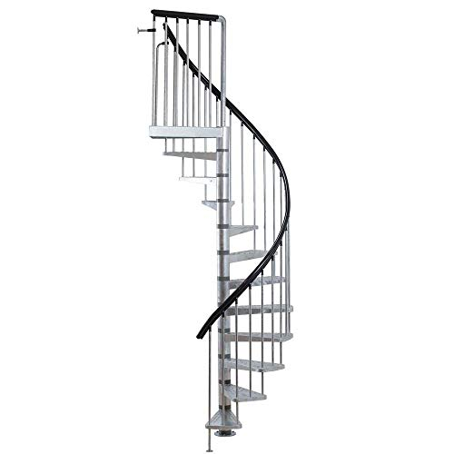 "Toronto Galvanized Steel Spiral Staircase - Indoor/Outdoor (11-Tread (96""-111""))"