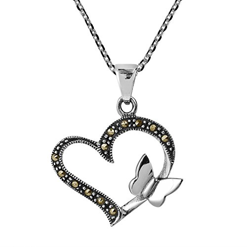 AeraVida Butterfly Kiss Open Heart Marcasite Style Pyrite .925 Sterling Silver Pendant ()