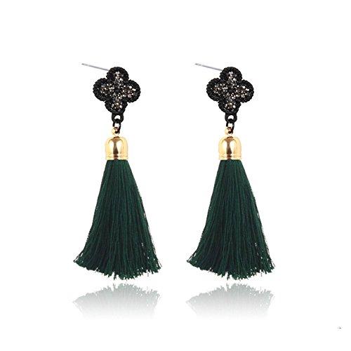 Marvella Green Earrings (Luck Wang Ms. Fashion Bohemian Style Alloy Diamond Tassel Earrings(Green))