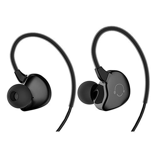 CIC Fone de ouvido Esportes à Prova D'água Ultraleve Estéreo com Botões e ótima Qualidade para Android ios PC Tablet MP3 e MP4, Preto