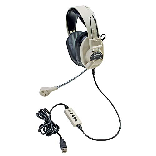 Califone CAF3066USB Deluxe Multimedia Stereo Headset with Boom Microphone with USB plug