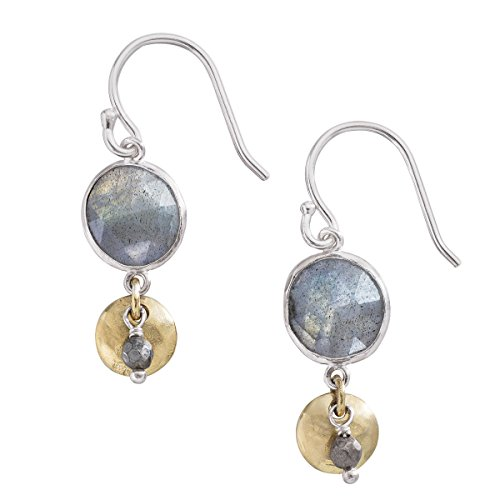 Silpada 'Stepping Stone' Sterling Silver, Brass, Labradorite, and Pyrite Drop Earrings