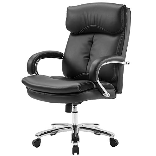 Merax Deluxe Series Big and Thick Padded Heavy Duty Office Chair with Big Steady Base (Black)