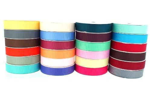 Trimweaver 5/8-Inch Grosgrain Ribbon, 5-Yard, 24 Spools, Multi Color
