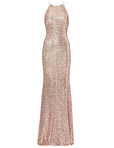 ModeC Bridesmaid Dresses Evening Party Gown Sequins Mermaid Halter Long Formal Wedding Rose Gold US22W