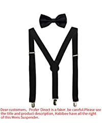 Solid Color Mens Suspender Y Shape with Strong Clips...