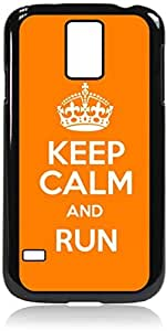 Keep Calm And Run (Orange)-Hard Black Plastic Snap - On Case with Soft Black Rubber LiningGalaxy s5 i9600 - Great Quality!