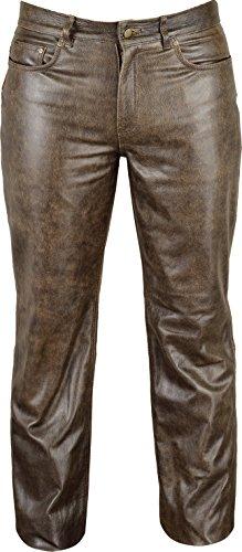 Uomo Vintage Attillata Lederprofi Pantaloni Marron E7wx0anpq