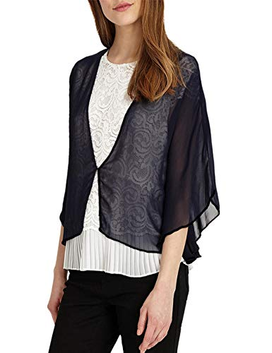 Soft Sheer Chiffon Wraps Shrug for Evening Party Open Front Oversized Capes by Lansitina (W41 Dark Navy) ()
