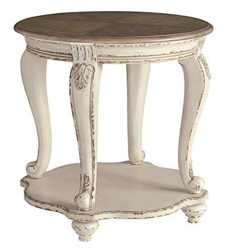 Signature Design by Ashley T743-6 Realyn Round End Table, White/Brown