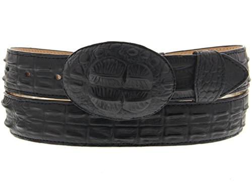 (Men' Belt Crocodile Alligator Head Cut Design Embossed Leather Cowboy Western Black (44))