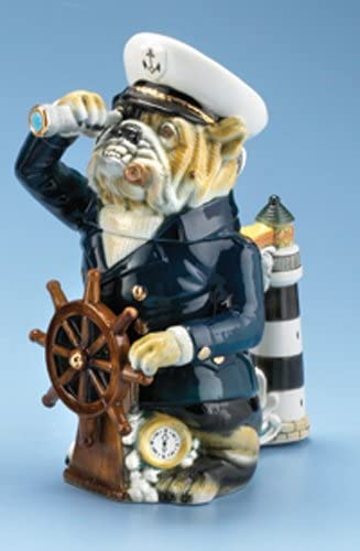 Sea Captain Stein, Bulldog Stein, Mans Best Friend Series Limited Edition Collectible Hand Painted Beer Stein, Nautical Captain Anchor, Lighthouse Bar Decor, Made in Germany