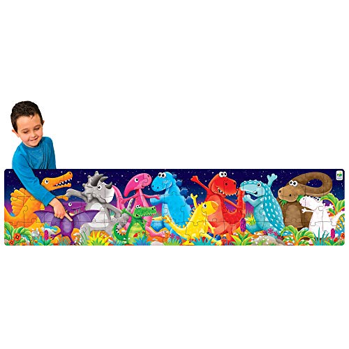 The Learning Journey Long & Tall Puzzle - Color Dancing Dinosaurs - 51Piece, 5-Foot-Long Preschool Puzzle - Educational Gifts for Boys & Girls Ages 3 & Up