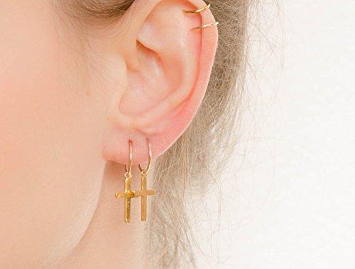 (Cross Hoops Earrings Simple Minimalist Gold Filled Jewelry)