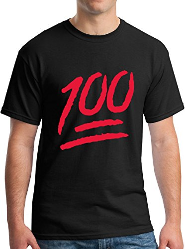 One Hundred Percent Red Emoji Texting Logo Adult Tee M Black