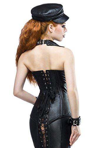 Schwarze Neckholder Kunstleder Corsage mit Frontreißverschluss und V-Ausschnitt und Schnalle zum schnüren Schwarz XTDJNsk