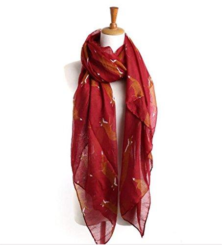 Women Girls Lightweight Sheer Wrap Shawls Cute Animal Printed Scarf Cozy Soft Chiffon Scarves - Little Fox Wine Red