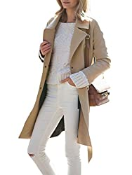 SheIn Women's Vintage Autumn Camel Long Sleeve Lapel Coat