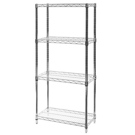 "Review 12""d x 24""w x 64""h Chrome Wire Shelving with 4 By Shelving Inc by Shelving Inc"