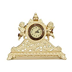 Chenglian Mantel Clock, Retro Clocks and Ornaments - European Art Living Room Home American Wine Cabinet Fireplace Furnishings Porch Crafts 12 Inch