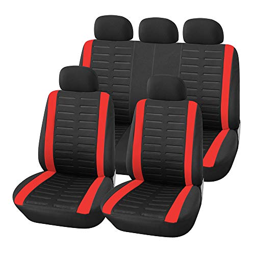 TOYOUN Full Set Car Seat Cover Universal Fit 9 PCS Front Seat Covers & Split Bench Cover Kit Airbag Compatible 3D Embossed Stripe Pattern Car Seat Protector for Auto