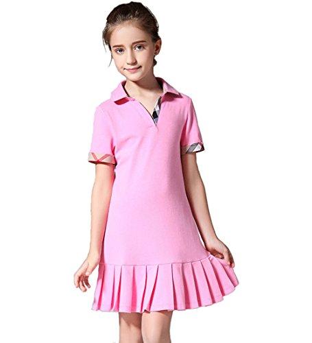 MIQI Girs Shift Dress Short Sleeves School Uniform Dresses Pink 6 Years Old