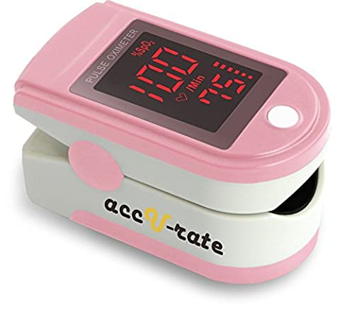 Acc U Rate Pro Series CMS 500DL Fingertip Pulse Oximeter Blood Oxygen Saturation Monitor with silicon cover, batteries and lanyard, Blushing (Pulse Oximeter Digital)