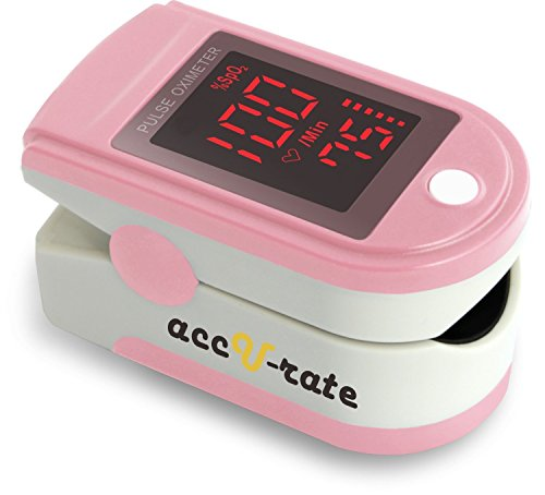 Pro Series 500DL Fingertip Pulse Oximeter Blood Oxygen Saturation Monitor with silicon cover, batteries and lanyard, Blushing (Peak Flow Meter Readings)