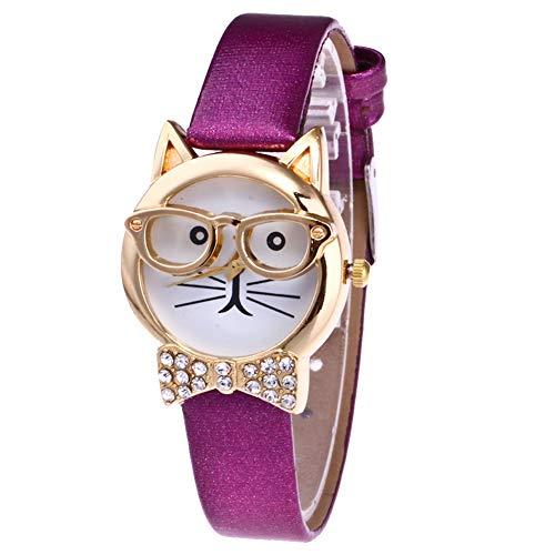 lightclub Cute Cat Face Round Dial Rhinestone Faux Leather Women Analog Quartz Wrist Watch - Purple