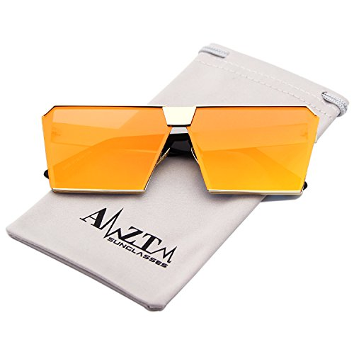 AMZTM Square Oversized Polarized Metal Sunglasses For Women and Men Mirrored Reflective Lens Fashion Glasses (Golden Frame and Orange Lens, - Orange Reflective Sunglasses