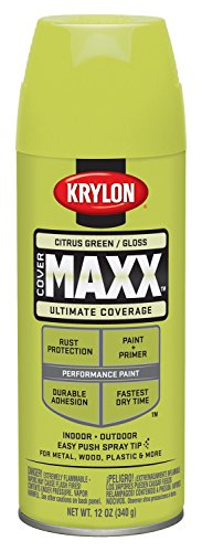 Krylon K09113000 COVERMAXX Spray Paint, Gloss Citrus Green, 12 -