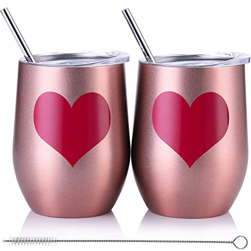Skylety 12 oz Double-insulated Wine Tumbler, Stainless Steel Tumbler Cup with Lids and Straws for Wine, Coffee, Drinks, Champagne, Cocktails, 2 Sets (Heart-Rose Gold) ()