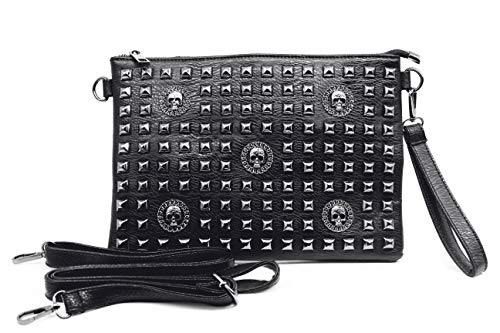 Chikencall Women Classic Gothic Skull Rivet Clutch Purses Punk style Studded Shoulder Cross-Body Bag Black ()