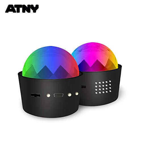 ATNY D33-2 1 Unit Portable Sound Activated Party Lights for Outdoor and Indoor, Battery Powered/USB Plug in, Dj Lighting, RBG Disco Ball, for Car, Parties Birthday DJ Club Kids Parties Lighting (3W) ()
