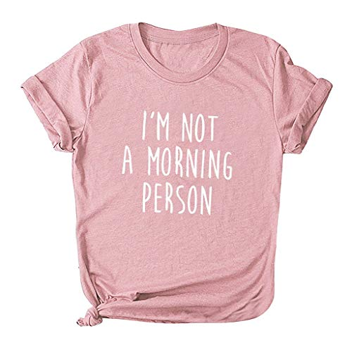 Women Short Sleeve T-Shirt Fashion Plus Size O-Neck Letter Print Tops Tee Loose Blouse Pink