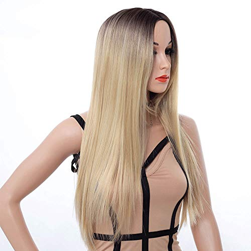 Best Long Middle Part Wig Ombre Blonde for