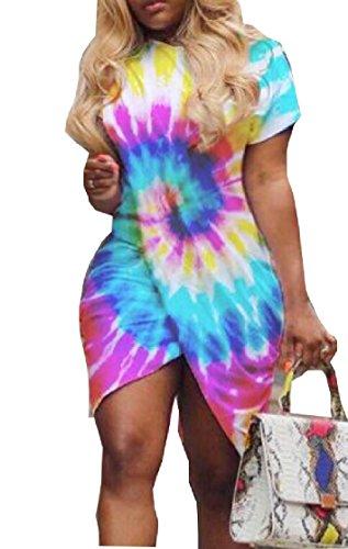 Neck Slit Sexy Sleeve 1 Women High Round Dress Midi Short Jaycargogo 1wSHfS