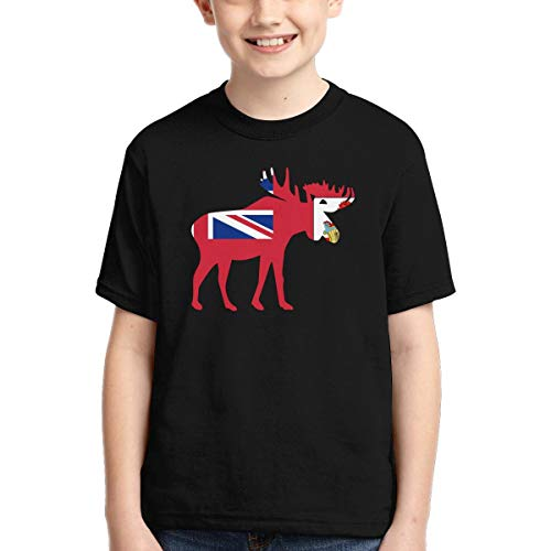 Vy32jg-2 Short-Sleeve Bermuda Moose Shirts for Children, Ruffled Tunic Tops, XS-XL Black