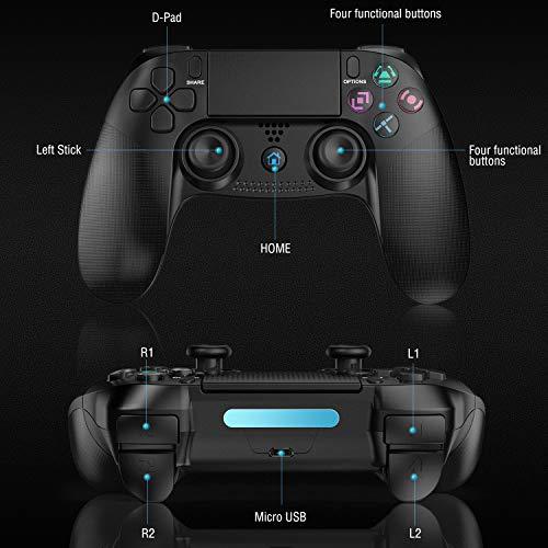 Gamory Manette pour PS4,Manette PS4 sans Fil Bluetooth avec Fonction de USB Rechargeable,Écouteurs Audio 3,5 mm,Manette de Jeu à écran Tactile avec Dualshock Vibration pour PS4 / PS3 Kits Coque