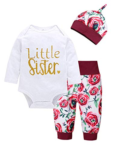 Baby Girl Clothes Summer Little Sister Breathable Bodysuit Striped Long Pants + Hat Outfits Sets 4Pcs (D-Red, 6-12 Months) ()